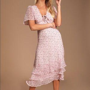 Blush pink floral ruffled lace up midi dress